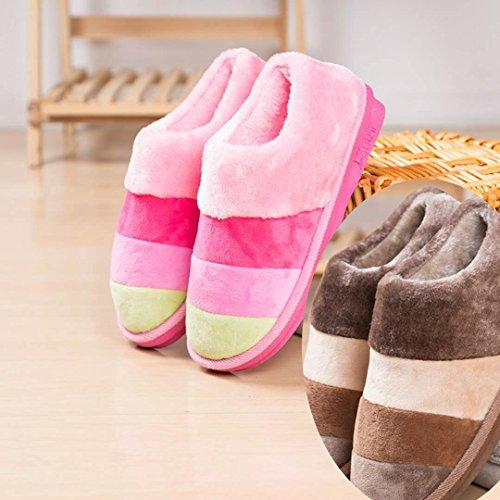 LaxBa Donna Uomo Indoor pattino antiscivolo pantofole il Girl Pink+uomini caffè 40/41+42/43