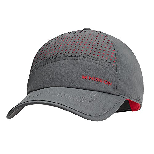 Mission HydroActive MAX Laser-Cut Performance Hat, Charcoal/Teaberry,