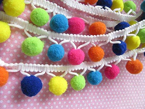 YYCRAFT Top Quality Multicolor G Pom Pom Ball Fringe Trim Ribbon Sewing(5 Yards)