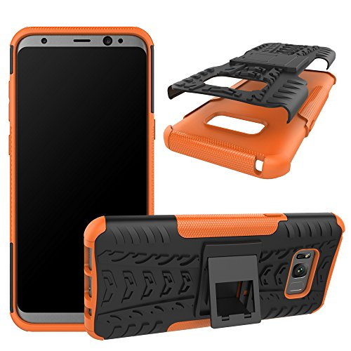 Price comparison product image Berry Accessory Galaxy S8 Plus Case, Samsung S8 Plus Heavy Duty Protective Cover Dual Layer Hybrid Shockproof Protective Case with Kickstand Hard Phone Case Cover for Samsung Galaxy S8 Plus Orange