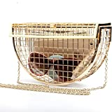 Women's Personality Features Semicircular Geometric Evening Bag Shoulder Horizontal Bag, Clutch Cage Bag (GOLD)