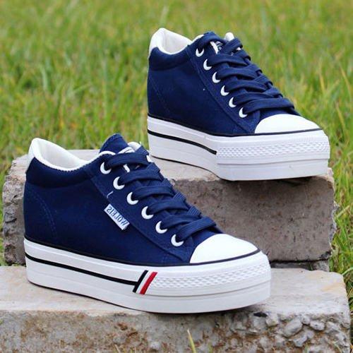 Leichte Spitze Sneaker Schuhe Canvas Damen NGRDX Schuhe amp;G Damen Casual Schuhe blue Damen Plattform wHqFXYB