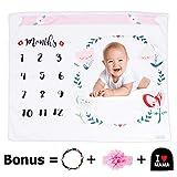 Monthly Baby Milestone Blanket  Premium Bundle Includes Headband, Floral Wreath & Bonus Baby Hat  100% Blanket  Baby Swaddling Blanket for Photography Large 47