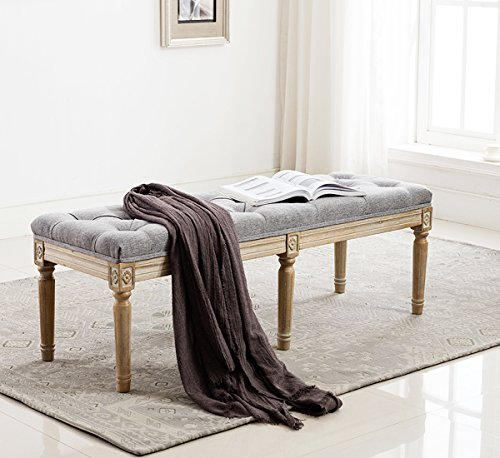Fabric Upholstered Entryway Ottoman Bench - Classic Bedroom Bench with Rustic Wood Legs - Gray