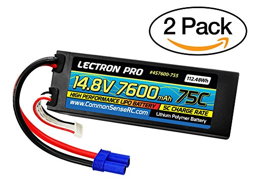 Pro 1/8 Buggy - Common Sense RC (2 Pack) Lectron Pro 14.8V 7600mAh 75C Hard Case Lipo Battery with EC5 Connector for 1/8 Scale Cars, Trucks, Buggies