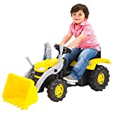 Dolu Kid's Children's Yellow Excavator With Pedal Operated Ride On Digger With Loader