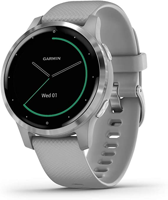 Garmin vívoactive 4S, Smaller-Sized GPS Smartwatch, Features Music, Body Energy Monitoring, Animated Workouts, Pulse Ox Sensors and More, Silver with ...