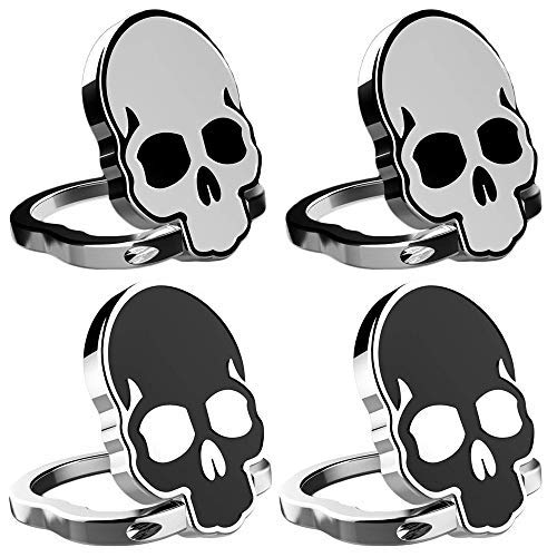 IHUIXINHE Cell Phone Finger Ring Holder, 360 Adjustable Ring Grip Kickstand for iphone X 8 7 7P 6 6s Plus, Samsung Galaxy, Huawei, Sony, LG, Fit for Magnetic Car Mount (Skull 4PCS)