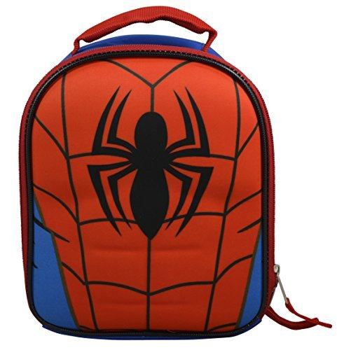 Marvel DC Comics Superheroes Domed Shaped 3D Pop Out Boys' Insulated Lunchbox Lunch Kit (Spiderman Kit)