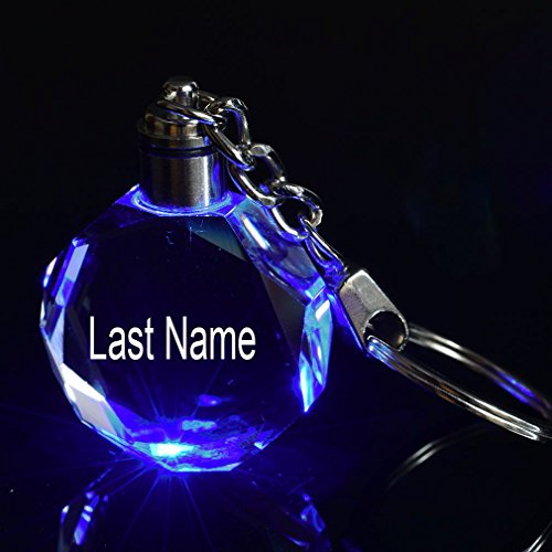 ivisi Personalized Engraved Key Chain Last Name (Crystal 3)