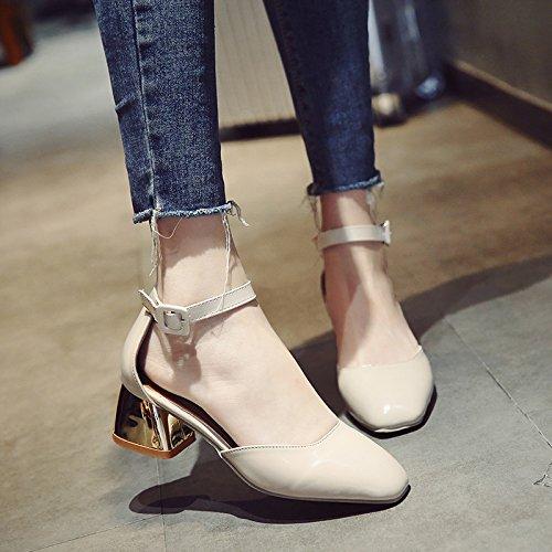 Y EU40 Heeled Pack Con Eu34 Punta Ranuradas Zapatos Grueso SHOESHAOGE Con De Fijaciones Mujeres High Sandalias ABxOwq4