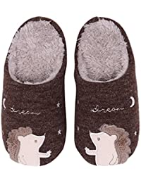 Cute Animal House Slippers Hedgehog Family Indoor Slippers Waterproof Sole Fuzzy Bedroom Slippers for Kids