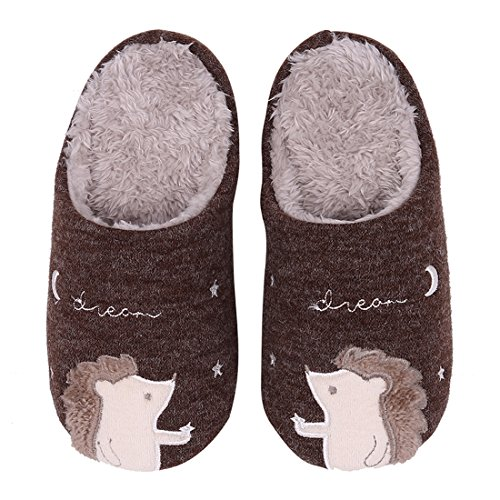 Cute Animal House Slippers Hedgehog Dog Family Indoor Slippers Waterproof Sole Fuzzy Bedroom Slippers for Kids 16C-2XS by Shevalues