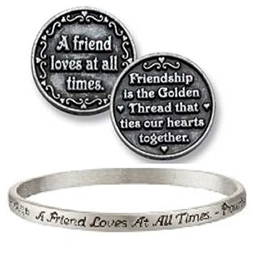 Pewter Coin Set (A FRIEND Loves at All Times - PEWTER Gift Set - BRACELET & Inspirational POCKET Coin - TOKEN - FRIENDSHIP - PROVERBS)