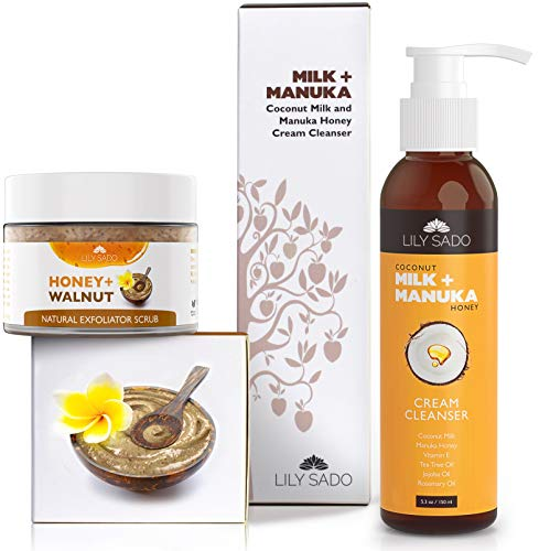 VALUE COMBO PACK Coconut Milk + Manuka Honey Cleanser & Honey + Walnut Exfoliator - Natural Antioxidants, Proteins & Vitamins Clear Dirt & Toxins & Hydrate & Nourish Skin for a Soft Glowing Complexion