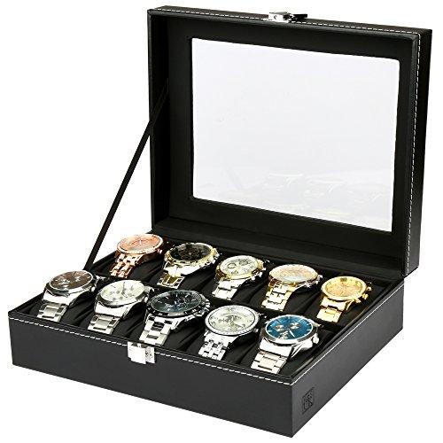 H&S® Glass Lid 10 Watch Jewellery Display Storage Box Case Bracelet Tray Faux Leather Black