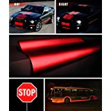 """Reflective Gloss Red Vinyl Car Wrap Film DIY Roll Easy to Install No-Mess Decal (12"""" x 54"""")"""