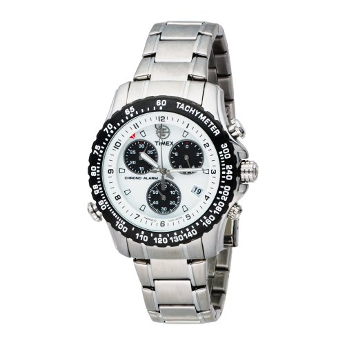 Timex Men's T42331 Expedition Premium Collection Chronograph Silver-Tone Stainless Steel Bracelet Watch (Alarm Chronograph Bracelet)
