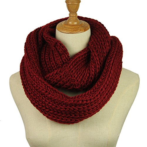 Knitted Infinity Scarf Winter Thick Warm Wrap Women Scarf Fashion Circle Loop Scarves (Wine Red 2)