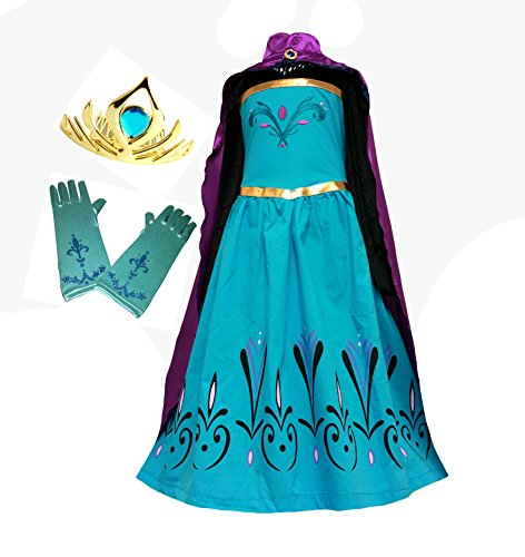American Vogue Elsa Coronation Dress Costume + Cape + Gloves + Tiara Crown (5 Years, (Elsa Costume Coronation)