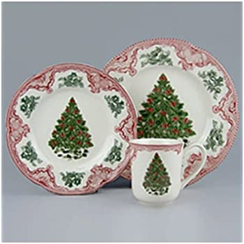 Johnson Brothers Old Britain Castles 12-Piece Christmas Tree Dinnerware Set Pink and Green & Amazon.com | Johnson Brothers Old Britain Castles 12-Piece Holiday ...