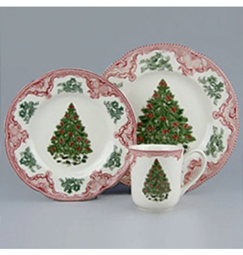 Johnson Brothers Old Britain Castles 12-Piece Christmas Tree Dinnerware Set Pink and Green & Christmas tree dish the best Amazon price in SaveMoney.es