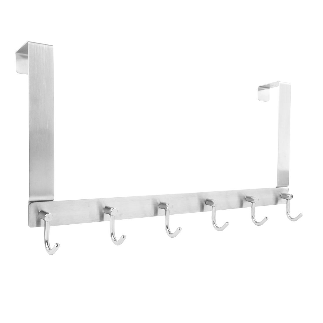 uxcell 304 Stainless Steel J Shaped Over The Door Hook Organizer Rack Hanging Coats Hats 6 Hooks