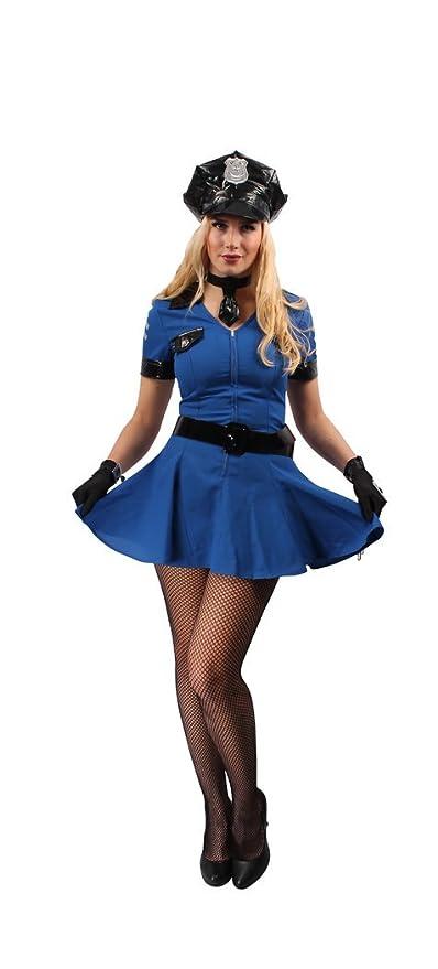 Karnevals Gigant Polizistin Kostum Blau Schwarz Fur Damen Grosse 42