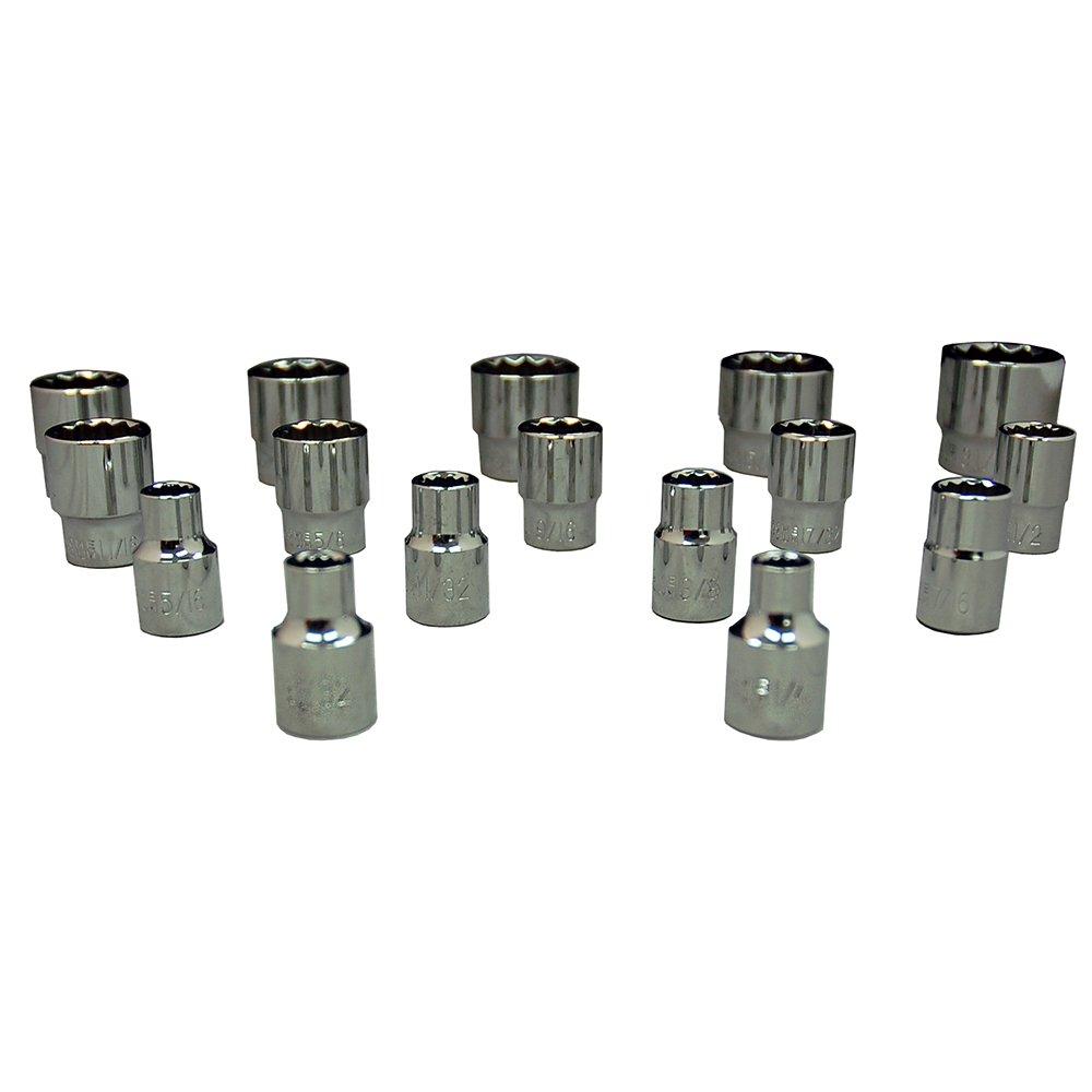 Zenith Industries ZN502234 3//8 Drive 12-Point SAE Standard 1//4-31//32 Socket Set
