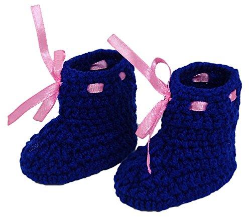 Love Crochet Art Calcetines Pink Handmade Baby Booties Calcetines Recién nacidos Prewalker Azul real