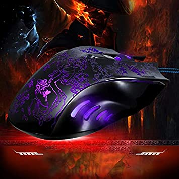 yf Length: 1.45m Mouse 169 USB 2400DPI Four-Speed Adjustable LED Backlight Wired Optical E-Sport Gaming Mouse with Counter Weight Black