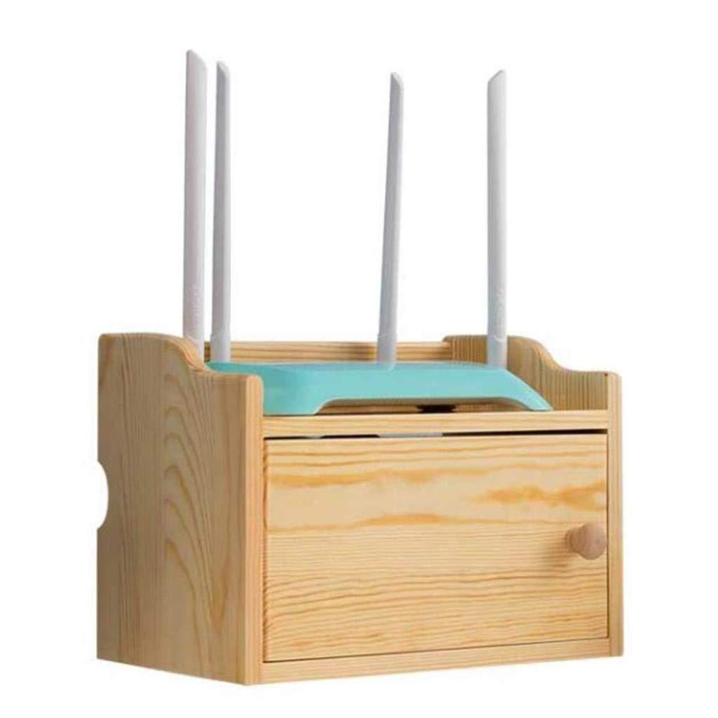 RMJAI Wireless WiFi Router Storage Box Solid Wood Shelf Desktop Bracket Cable Storage Home Decor 281820.5cm Player Storage Rack by RMJAI
