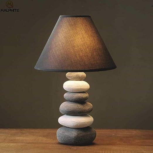 Lámpara de mesa de piedra de cerámica nórdica Sala de estar ...