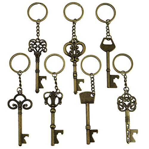 Key Bottle Openers - Skeleton Key Opening Beer Bottles Soda Bottles Keychain Key Ring For Tailgate Party or Wedding Party, Festival (Bronze, Pack of 7)