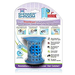 "ShowerShroom the Revolutionary 2"" Stand-Up Shower Stall Drain Protector Hair Catcher/Strainer, Blue"