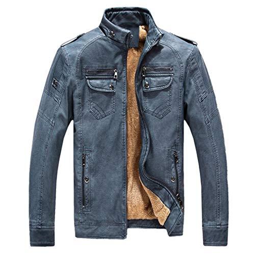 - Oudahood Men Leather Jacket Warm Plus Velvet Coat Deep Blue M