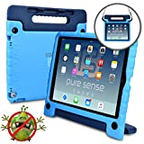 Pure Sense Buddy [Anti-Microbial Kids Case] Child Proof case for iPad Pro 12.9-1st 2nd Gen 2015 2017 | Cover, Stand, Handle, Shoulder Strap (Blue)
