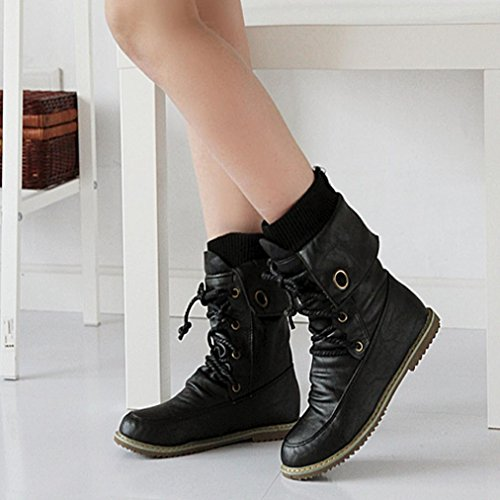 Bandage Martin Fashion Calf Casual Shoes Mid Winter Woman Ankle Female Sikye Black Boots Boots wqIftnA