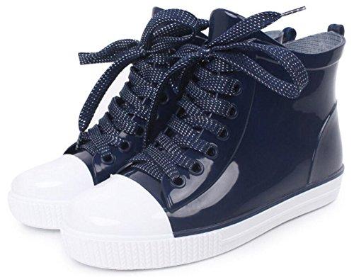 Mujeres Adultas Antideslizantes Tobillo Corto Alto Zapatos De Goma Botas De Lluvia Azul Oscuro