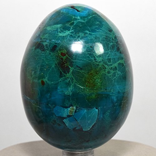 2.8'' Chrysocolla Egg w/ Malachite Blue Green Natural Crystal Chalcedony Mineral Polished Gemstone Egg - Peru + Plastic Stand by HQRP-Crystal