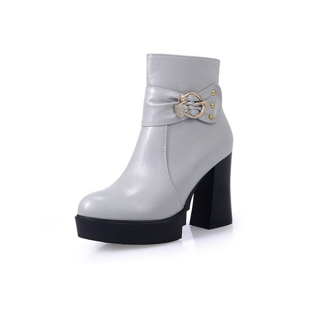 AmoonyFashion Women's Round-Toe Closed-Toe High-Heels Boots with Rivet and Glass Diamond, Gray, 41