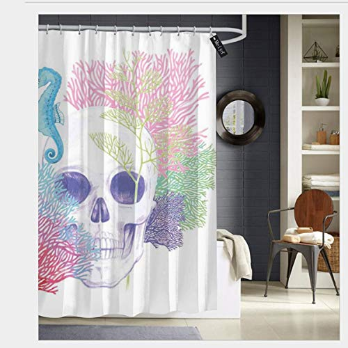 Halloween Skull Skeleton Head with Coral Reef Dead Aquarium Pirate Wildlife Image Waterproof Shower Curtain - Water, Soap, and - Machine Washable - Shower Hooks are Included for Bathroom 66 x 72 inch ()