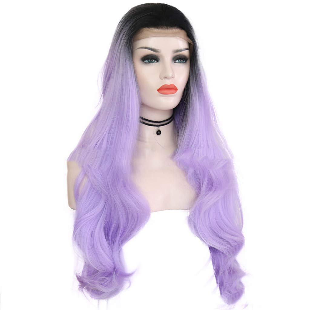 WANQUIY Pueple Synthetic Hair Long Wigs Women Lady Fashion Cosplay Party Hair Wig Mix Wavy Full Wigs