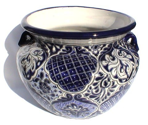 Talavera Ceramic Pot (Big Blue Talavera Ceramic Pot)