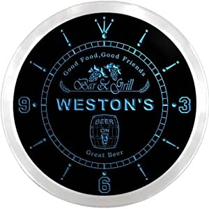 ncpr0930-b WESTON'S Bar & Grill Food Pub Beer Pub LED Neon Sign Wall Clock