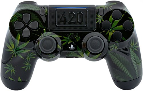 420 Black Custom PS4 PRO Rapid Fire Custom Modded Controller 40 Mods for All Major Shooter Games, Fortnite & More with custom touchpad (CUH-ZCT2U) (The Best Modded Controllers)