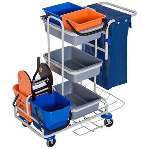 homcom Professionele multifunctionele reinigingswagen met 4 wielen, 118 × 73 × 103 cm