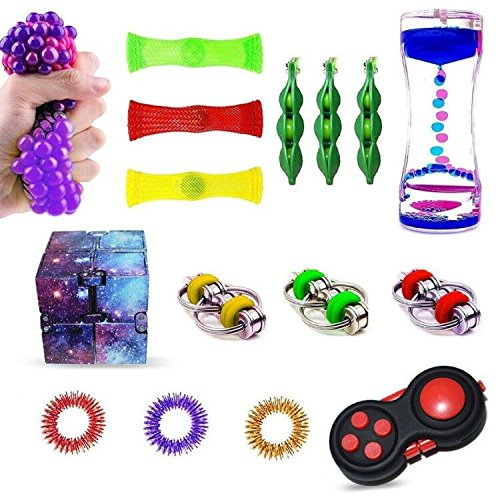 Qmifun 16pcs Fidget Toys Sensory Bundle-Infinity Magic Cube/Fidget Pad/Liquid Motion Timer/Fidget Bike Chain/Squeeze Soybeans/Fidget Finger Toys