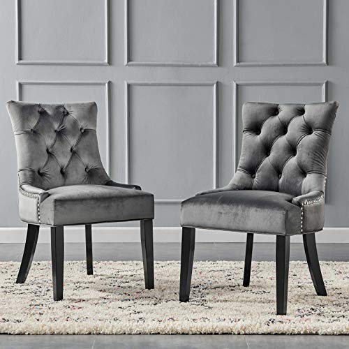 Modway Regent Tufted Performance Velvet Dining Side Chairs – Set of 2, Charcoal
