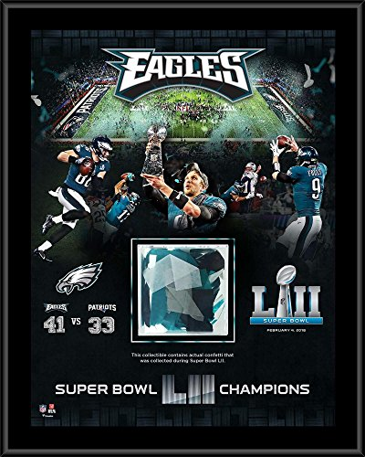 "Philadelphia Eagles Super Bowl LII Champions 12"" x 15"" Sublimated Plaque with Game-Used Confetti - Fanatics Authentic Certified"
